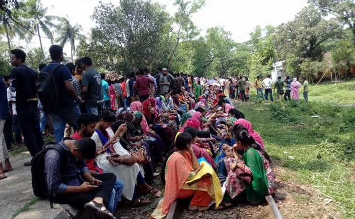 কোটা-রেলপথ-অবরোধ-Railroad blockade again demanding quota in Mymensingh
