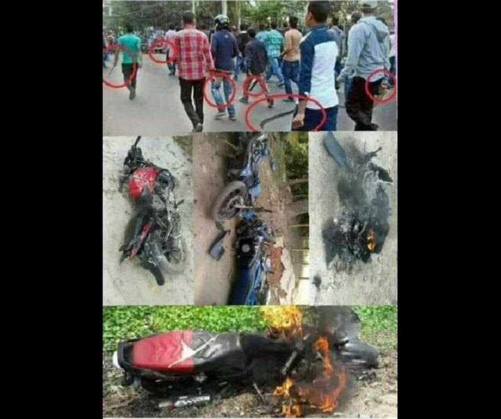 ভাঙচুর-অগ্নিসংযোগ-10 vehicles vandalized and torched in the clash between two groups of BNP